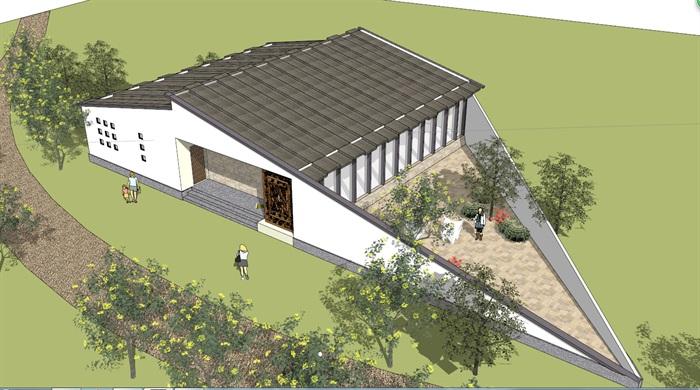 详细中式风格公厕建筑设计su模型[原创]