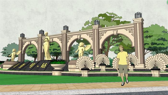 欧式详细的廊架素材设计su模型[原创]