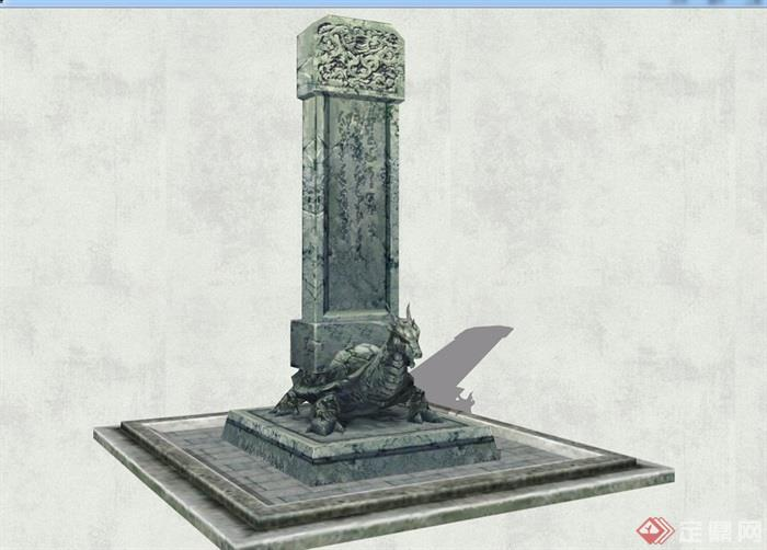 详细四方神兽雕塑su模型[原创]