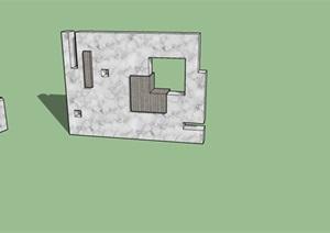 景观墙和景观座凳SU(草图大师)模型