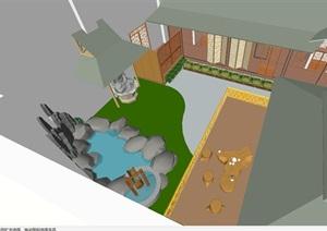日式屋顶花园建筑与景观方案SU模型
