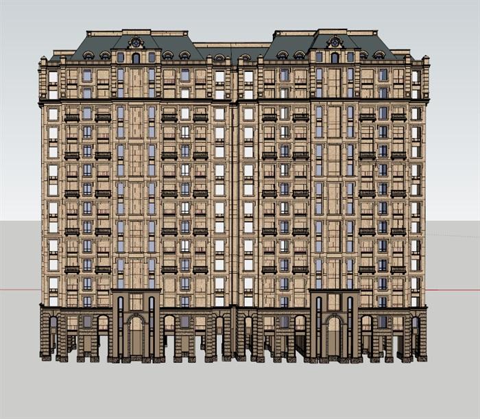 某欧式详细的高层住宅楼设计su模型[原创]