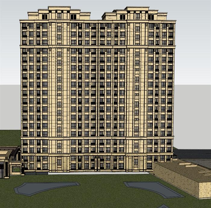 新古典風格詳細高層住宅樓設計su模型[原創]