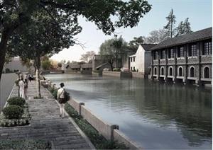 某河流滨水景观设计psd效果图