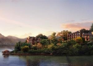 某滨湖小岛别墅景观设计psd效果图