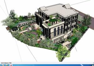 某美式风格住宅景观及别墅建筑设计SU(草图大师)模型