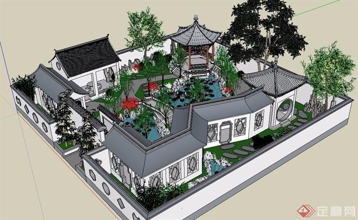 某古典中式风格详细庭院景观素材su模型[原创]