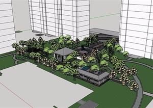 中式风格住宅景观SU(草图大师)模型