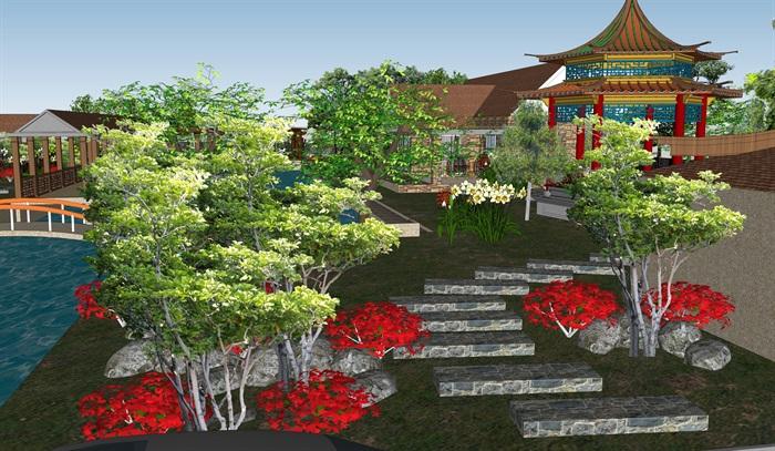 某详细独特的东南亚农庄建筑及景观设计su模型