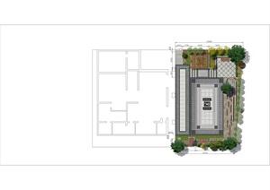 中式别墅庭院PSD彩平图文件