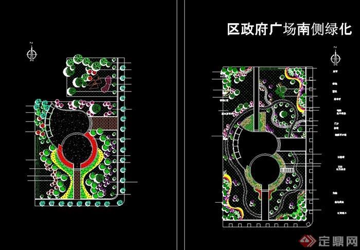 区政府广场绿化设计cad方案图[原创]