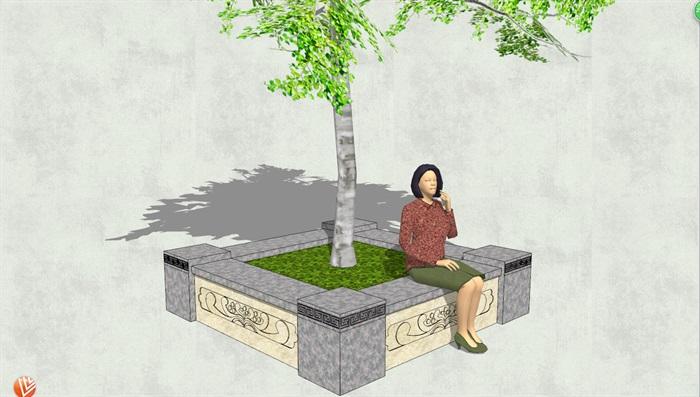 现代风格方形树池设计su模型[原创]