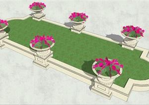 六个花钵与异形树池合理结合的景观布局SU(草图大师)模型