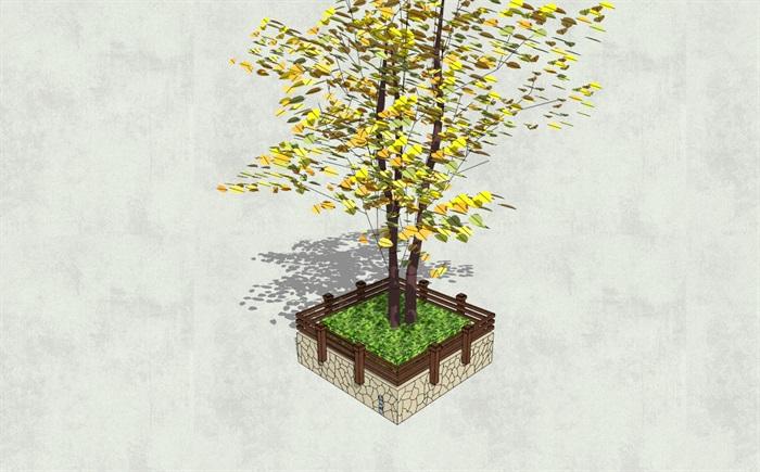 中式风格护栏装饰方形树池su模型[原创]