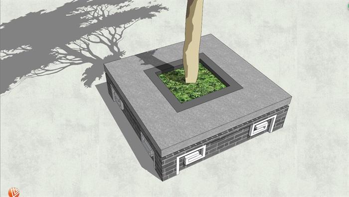 中式风格灰砖装饰方形树池su模型[原创]