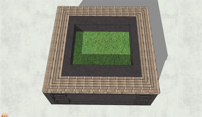 中式古典风格方形树池su模型[原创]