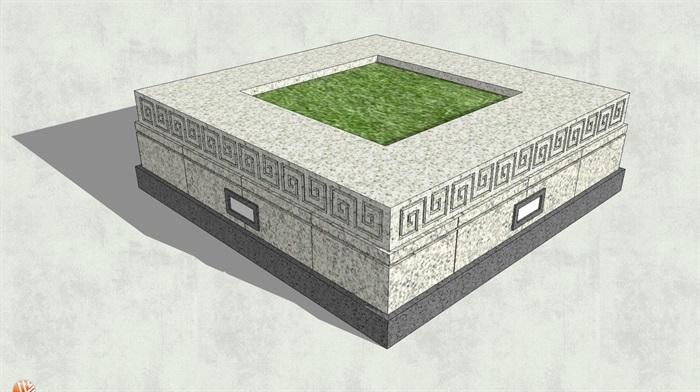 中式风格方形树池su模型[原创]