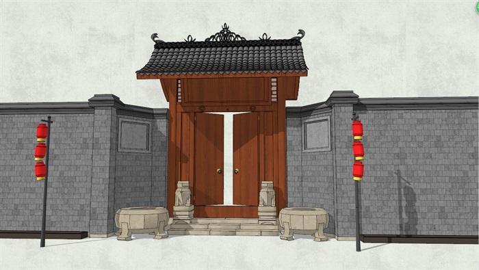 中式风格民居小院大门详细建筑设计su模型[原创]