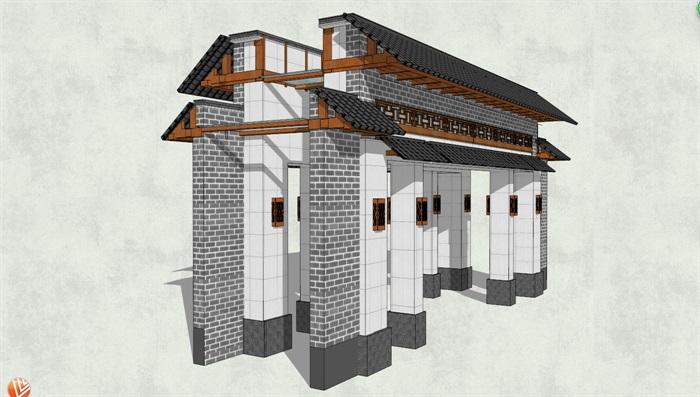 仿古建中式模型信息建筑设计SU风格[原创]如何写好大门招聘设计机械图片