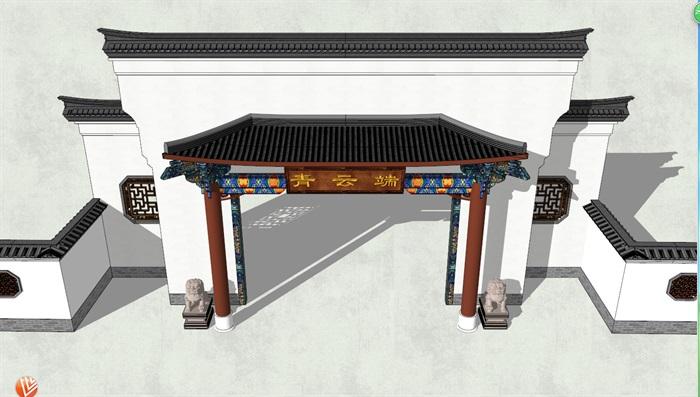 徽派中式民居小院大门详细建筑设计su模型[原创]