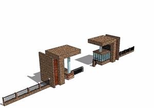 经典小区大门模型