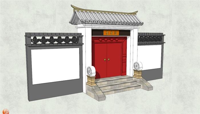 中式古建风格大门详细建筑设计SU模型,模型为古典中式风格,可直接下载用于相关庭院景观素材设计使用,欢迎下载使用。