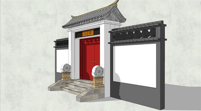 中式古建风格大门详细建筑设计su模型[原创]