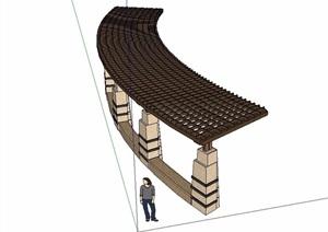 东南亚详细独特木廊架SU(草图大师)模型