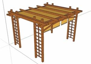 中式详细传统木廊架SU(草图大师)模型