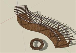 中式风格详细的防腐木廊架素材SU(草图大师)模型
