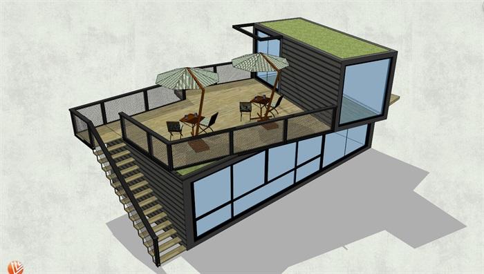 简易小木屋设计su模型[原创]