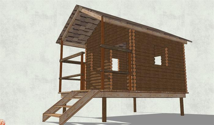 架空_底层架空圆木墙面小木屋设计su模型[原创]