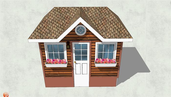 欧式现代风格小木屋设计su模型[原创]