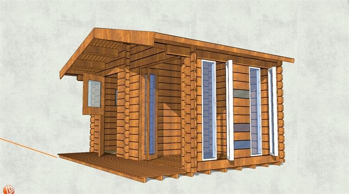 板形墙面小木屋设计su模型[原创]