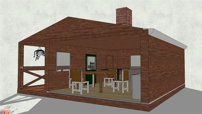 坡面屋顶带凉台小木屋设计su模型[原创]