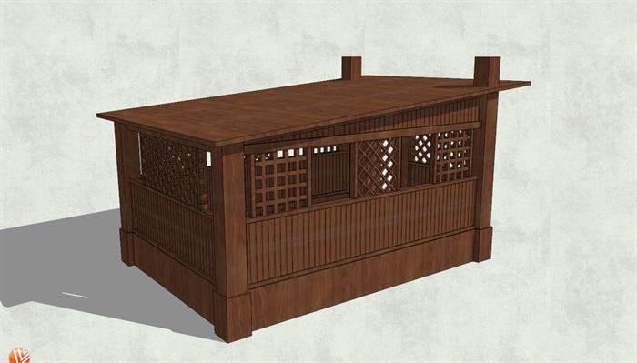 平面斜坡屋顶小木屋设计su模型[原创]
