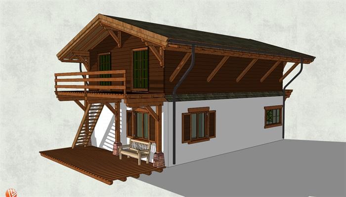 砖木混合结构二层房屋设计su模型[原创]