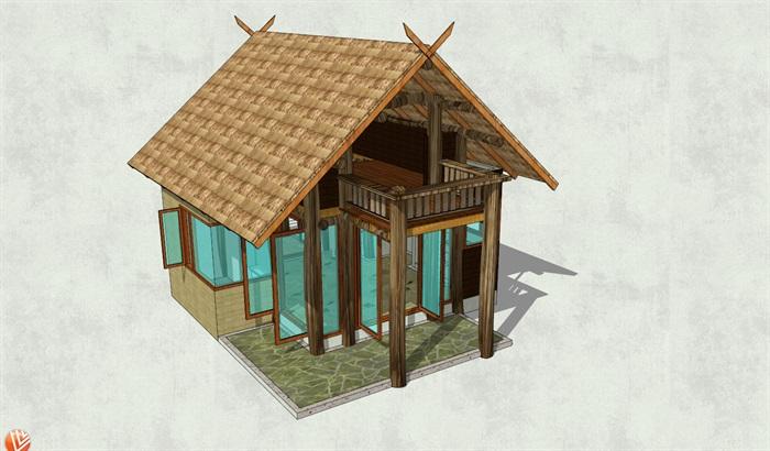坡面屋顶简易小木屋设计su模型[原创]