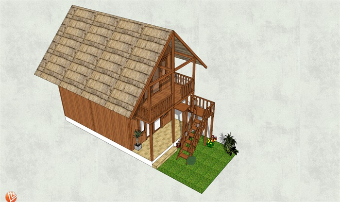 二层小木屋设计su模型[原创]