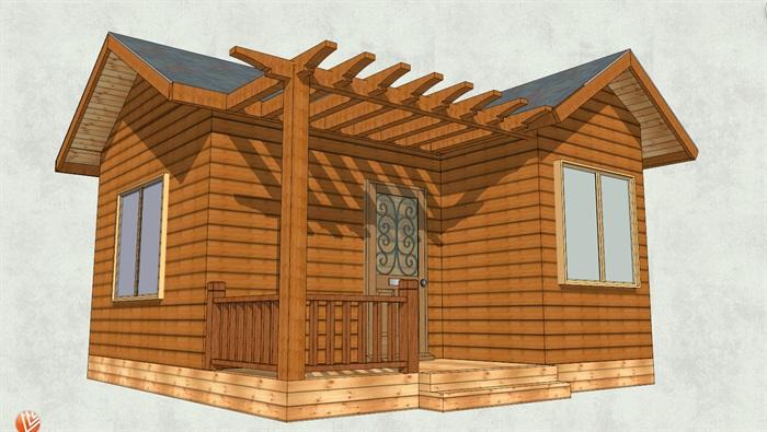 现代风格中式小木屋设计su模型[原创]