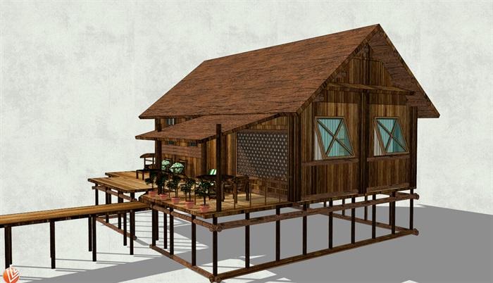 湖中中式小木屋设计su模型[原创]