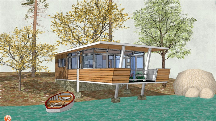 湖边平顶屋面小木屋设计su模型[原创]
