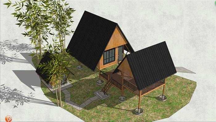底层架空_底层架空小憩房和居住房合理布局小木屋设计su模型