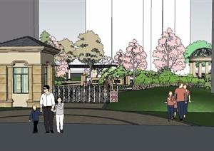 欧式居住区入口及中庭景观模型