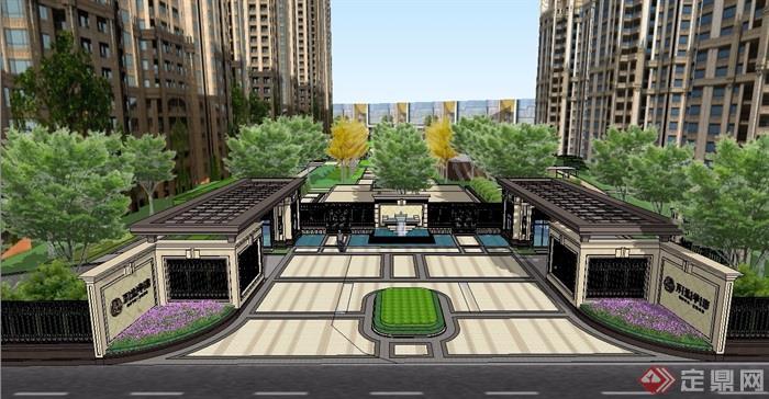 新古典风格住宅小区景观素材设计su模型[原创]
