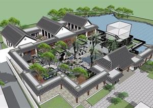 某中庭景观详细景观设计SU(草图大师)模型及建筑