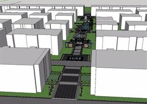 云南中式风格住宅小区景观SU(草图大师)模型