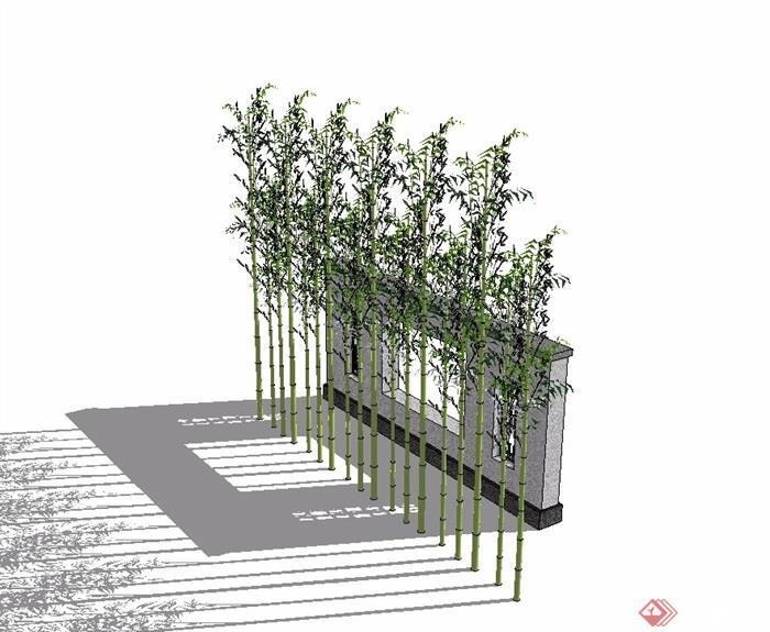 新中式风格园林景观景墙素材su模型[原创]