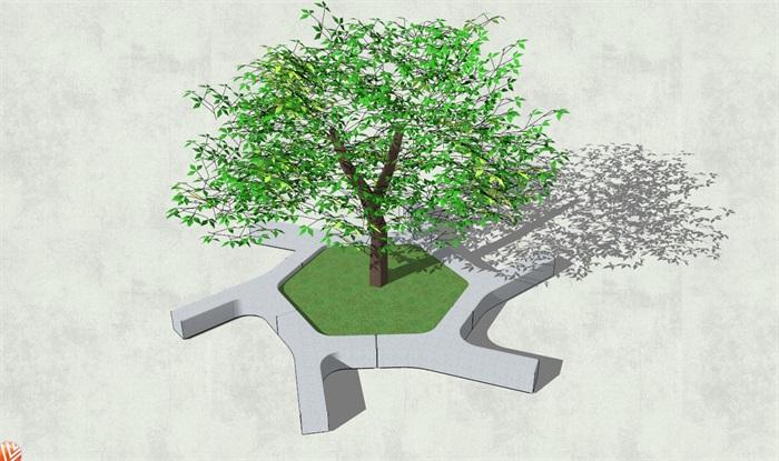 现代独特造型异形树池su模型[原创]