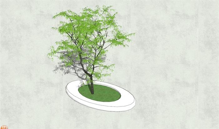 现代详细的异形树池su模型[原创]